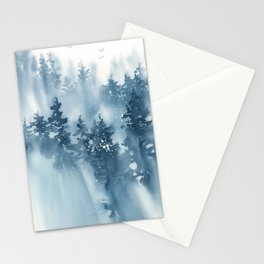 Blue Mountain Forest 2 Watercolor Painting Stationery Cards