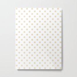 Small Polka Dots - Pearl Brown on White Metal Print