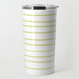 VA Lime Green - Lime Mousse - Bright Cactus Green - Celery Hand Drawn Horizontal Lines on White Travel Mug