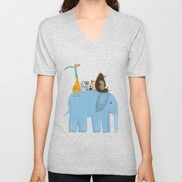 the big blue elephant Unisex V-Neck
