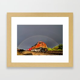 BNSF Train with Rainbow at Henrietta Missouri Framed Art Print