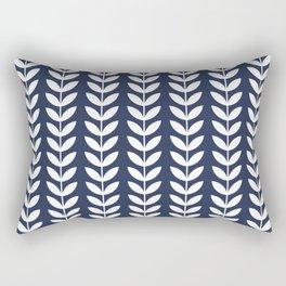 Navy Blue and White Scandinavian leaves pattern Rectangular Pillow