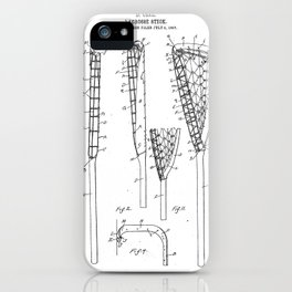Lacrosse Stick Patent - Lacrosse Player Art - Black And White iPhone Case
