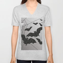 Ghosts and Bats Spiderweb Halloween Unisex V-Neck