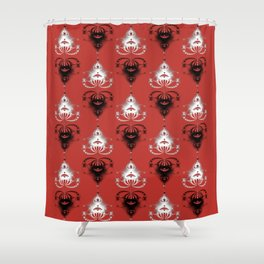 Ornament medallions - Black and white fractals on valiant poppy color Shower Curtain
