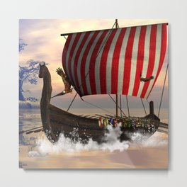 The  viking longship Metal Print