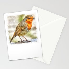 Christmas Robin Winter Watercolor Stationery Cards