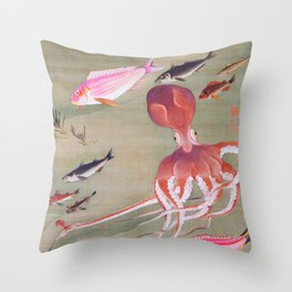 Ito Jakuchu - Fish School, Octopus - Digital Remastered Edition Throw Pillow