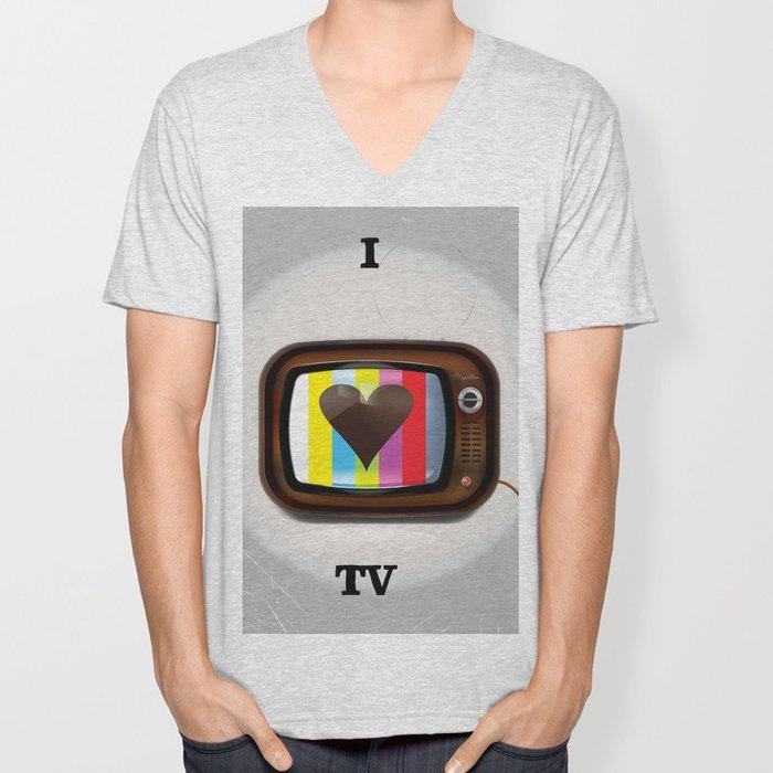 I Love TV vintage poster Unisex V-Neck