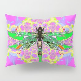 Emerald Green Dragonfly Pink Abstract Pillow Sham