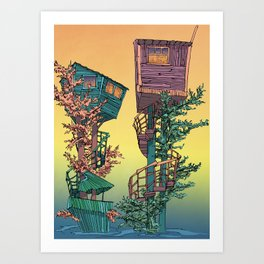 Treehouses 1  Art Print