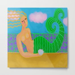 Mermaid with Sea Shell Colorful Abstract Digital Painting  Metal Print
