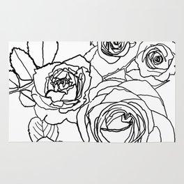 Feminine and Romantic Rose Pattern Line Work Illustration Rug