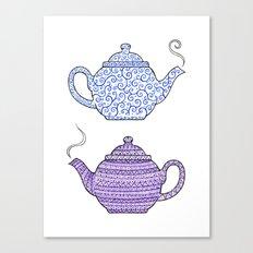 Patterned Teapots Canvas Print