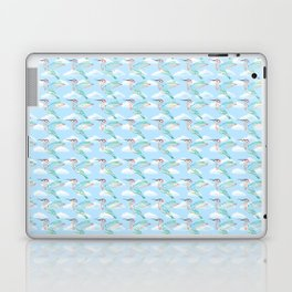 Rainbow Hummingbirds Hovering in a Cloudy Sky Laptop & iPad Skin