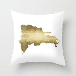 punta cana dominican republic gold map Throw Pillow