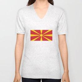 Macedonia country flag Unisex V-Neck