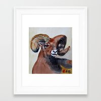 ram Framed Art Prints featuring Ram  by Woolpecula
