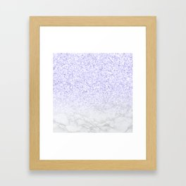Violet Glitter and Marble Framed Art Print