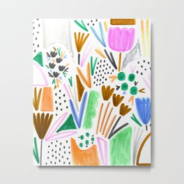 Felt Tip Floral Metal Print