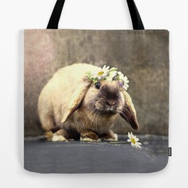 Majesty the rabbit and her flower crown Tote Bag