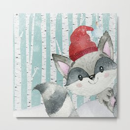 Winter Woodland Friends Cute Racoon Snowy Forest Illustration Metal Print