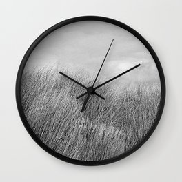 Beach grass - black and white Wall Clock