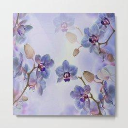 Watercolor Purple Orchids Metal Print