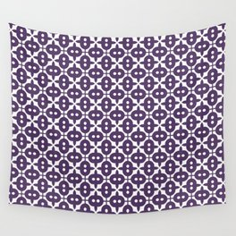Dark Violet Plum and White Pattern Wall Tapestry