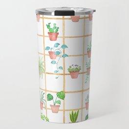 Watercolor Pot Plants Travel Mug