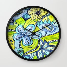 Turquoise, Yellow, and Green Floral Wall Clock