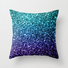 Beautiful Aqua blue Ombre glitter sparkles Throw Pillow