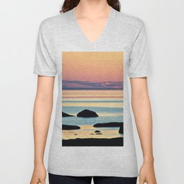Circle of Rocks and the Sea at Dusk Unisex V-Neck