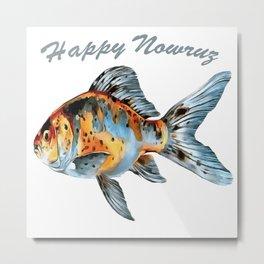 Happy Nowruz Shubunkin Goldfish Persian New Year Metal Print