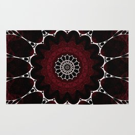 Deep Ruby Red Mandala Design Rug