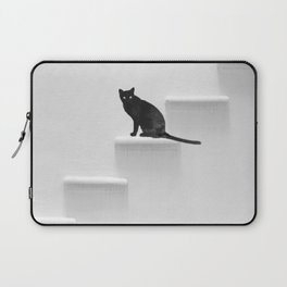 Black cat on steps Laptop Sleeve