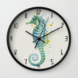 Seahorse: Green Natural Wall Clock