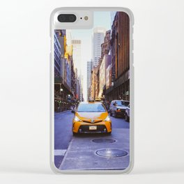 New York lonely cab Clear iPhone Case
