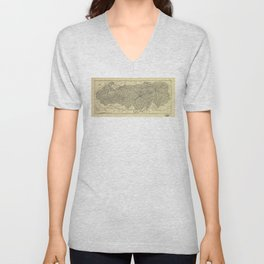Map of the Great Smoky Mountains National Park (1935) Unisex V-Neck
