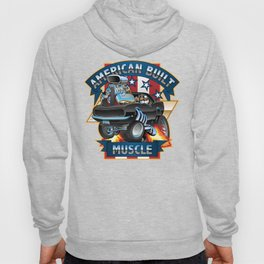 American Built Muscle - Classic Muscle Car Cartoon Illustration Hoody