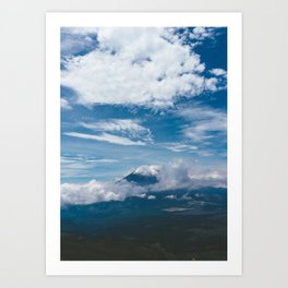 Blue Mountain View Hiking up Iztaccihutal Volcano, Mexico City Art Print