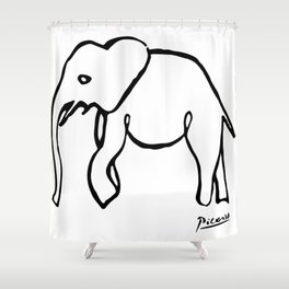 Pablo Picasso, Rare Elephant Drawing, Line Sketch Artwork, Prints, Posters, Bags, Tshirts, Men, Wome Shower Curtain