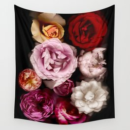 Red, White, Yellow, and Pink Roses Wall Tapestry