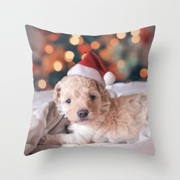 Santa Dog (Color) Throw Pillow