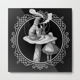 Alice and the Smoking Caterpillar - Alice in Wonderland Metal Print