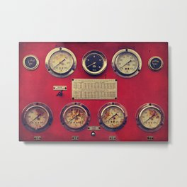 Old Gauges on a Fire Truck Metal Print