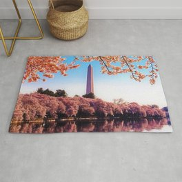 Spring Cherry Blossoms at the Washington Monument Portrait Painting Rug