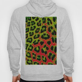Red and Apple Green Leopard Spots Hoody