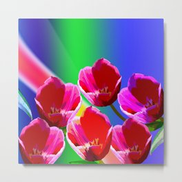 Artistic Spring Tulips on a vibrant Abstract Background Metal Print