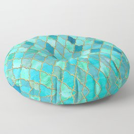 Aqua Teal Mint and Gold Oriental Moroccan Tile pattern Floor Pillow